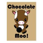 Postal de la vaca del MOO Kawaii del chocolate