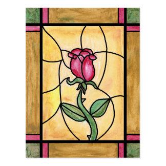 Postal de la ventana color de rosa