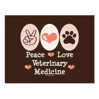 Postal de la veterinaría del amor de la paz