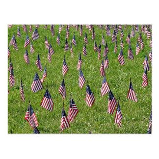 Postal de las banderas americanas