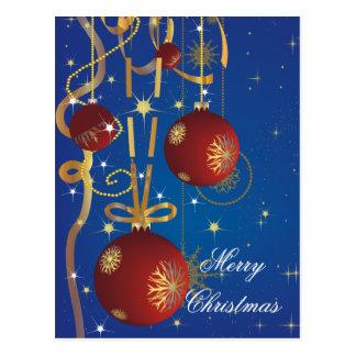 Postal de las bolas y de las cintas del navidad