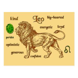 Postal de las características del zodiaco de Leo