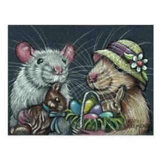 Postal de las cestas de Pascua de las ratas