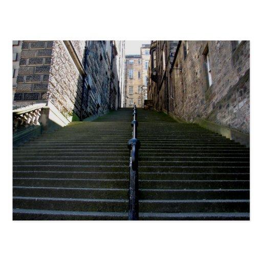 Postal de las escaleras de Edimburgo