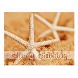 Postal de las estrellas de mar del feliz cumpleaño