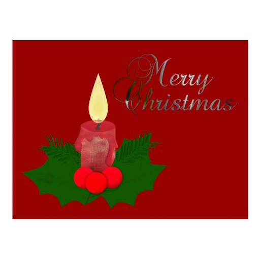 Postal de las Felices Navidad de la vela y del