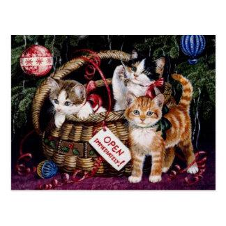 Postal de las Felices Navidad del gato del vintage
