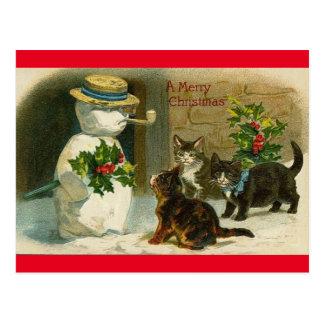 Postal de las Felices Navidad del hombre de la