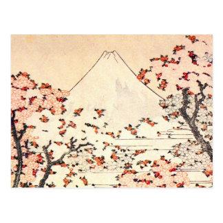 Postal de las flores de cerezo de Hokusai el monte