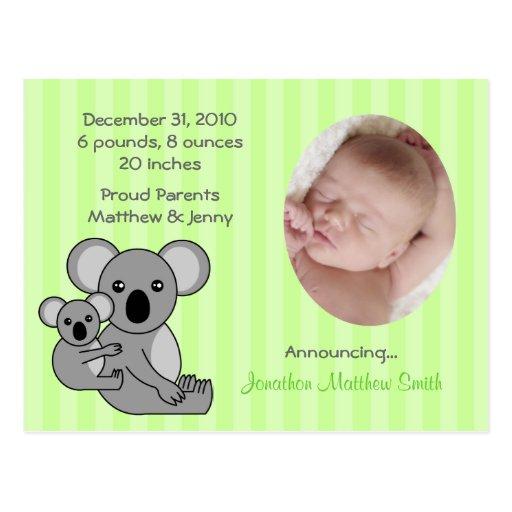 Postal de las invitaciones del nacimiento del oso