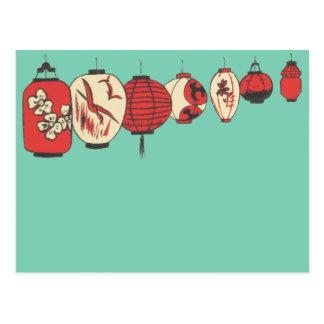 Postal de las linternas de papel de chino