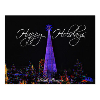 Postal de las luces de navidad de Duluth Minnesota