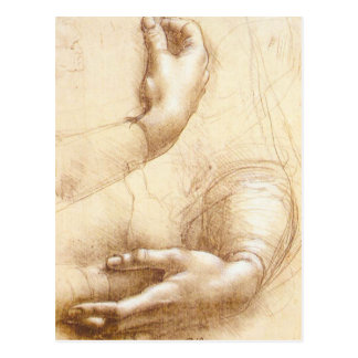 Postal de las manos de da Vinci