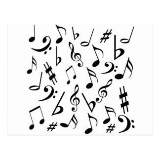 Postal de las notas musicales - blanco y negro