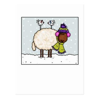 postal de las ovejas del invierno