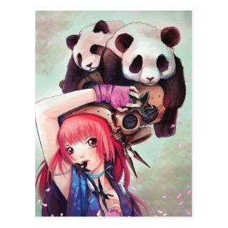 Postal de las pandas de Ninja del melocotón