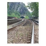 Postal de las pistas de ferrocarril del transborda