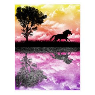 Postal de las reflexiones del caballo