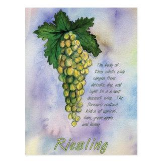 Postal de las uvas de vino de Riesling