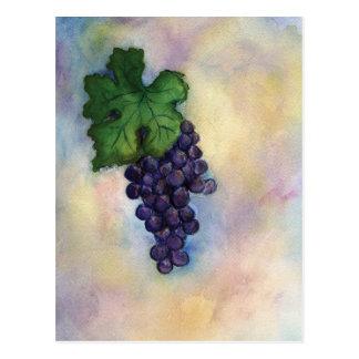 Postal de las uvas de vino rojo de