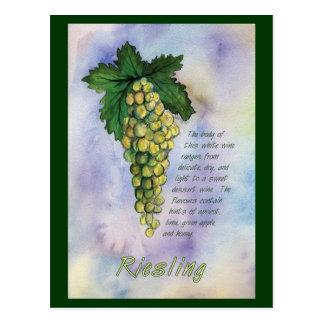 Postal de las uvas del vino blanco de Riesling