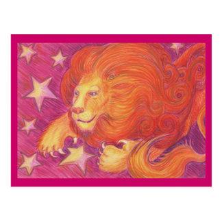 Postal de Leo del zodiaco