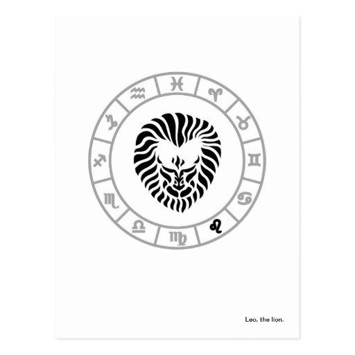 Postal de Leo y de la rueda del zodiaco
