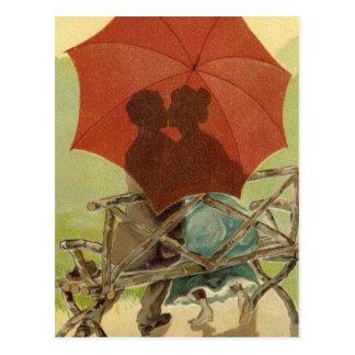 Postal de los amantes del paraguas