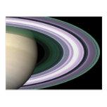 Postal de los anillos de Saturn de la foto del esp