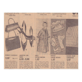 Postal de los anuncios de periódico del vintage