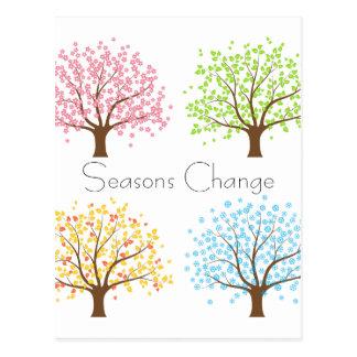 Postal de los árboles del invierno del otoño del