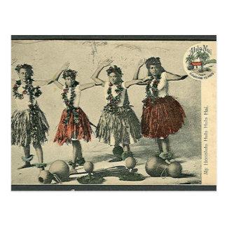 Postal de los bailarines de Hawaii Hula del vintag