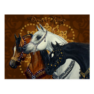 Postal de los caballos de reyes Arabian del desier