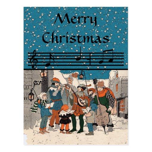 Postal de los Carolers de las Felices Navidad