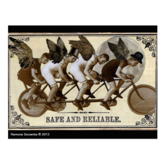 Postal de los ciclistas de Steampunk