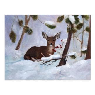 Postal de los ciervos de la baya del acebo