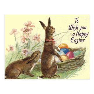 Postal de los conejos de Pascua del vintage