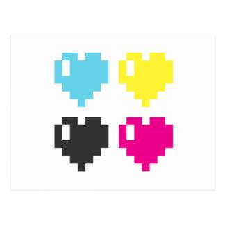 Postal de los corazones del pixel de CMYK