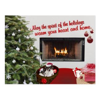 Postal de los deseos del navidad del fox terrier d