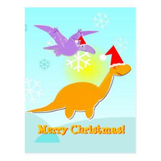 Postal de los dinosaurios de los saludos de las Fe