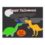 Postal de los dinosaurios de los saludos del feliz