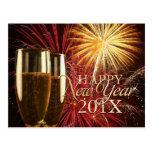 Postal de los fuegos artificiales de la Feliz Año