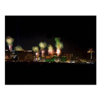 Postal de los fuegos artificiales de Las Vegas