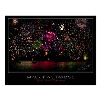 Postal de los fuegos artificiales del puente de Ma