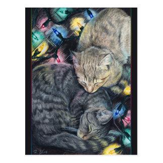 Postal de los gatitos del navidad
