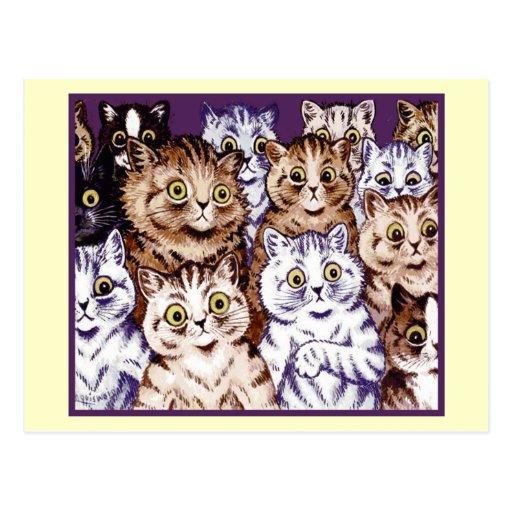 Postal de los gatos de la admiración de Louis Wain
