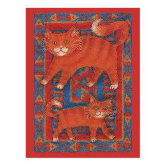 Postal de los gatos de la estera