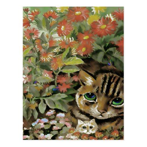 Postal de los gatos de la flor del vintage