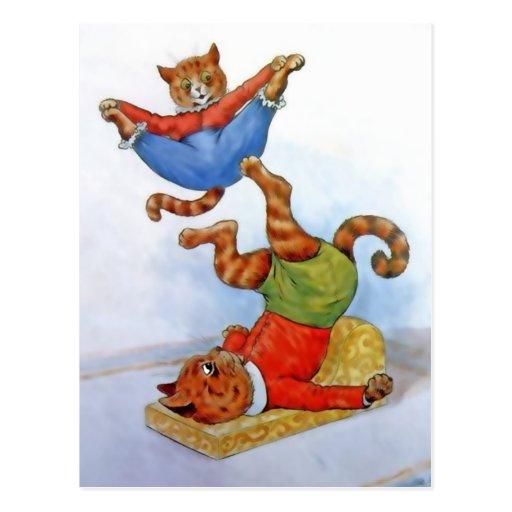 Postal de los gatos del acróbata del vintage
