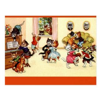 Postal de los gatos del fiesta de baile del vintag